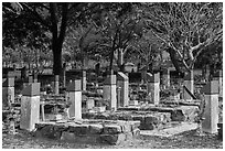 Hang Duong memorial cemetery. Con Dao Islands, Vietnam ( black and white)