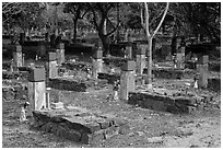 Unmarked graves, Hang Duong Cemetery. Con Dao Islands, Vietnam ( black and white)