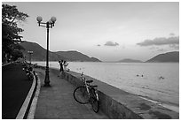 Calm evening on seafront promenade, Con Son. Con Dao Islands, Vietnam ( black and white)