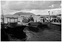 Fishing boats, early morning, Con Son harbor. Con Dao Islands, Vietnam ( black and white)