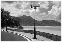 Seafront promenade, Con Son. Con Dao Islands, Vietnam ( black and white)