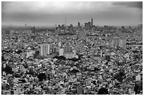 Aerial view of city skyline. Ho Chi Minh City, Vietnam ( black and white)