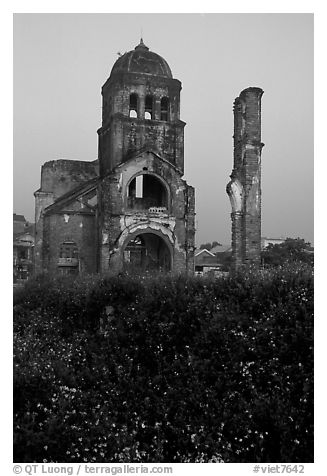 Bombed church ruins, Dong Hoi. Vietnam (black and white)