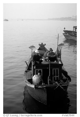 Fishing boat, in the Nhat Le River, Dong Hoi. Vietnam (black and white)