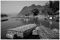 Floating fish cages, Son Trach. Vietnam ( black and white)