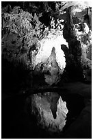 Cave formations reflected in a pond, lower cave, Phong Nha Cave. Vietnam (black and white)