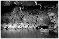 Tour boat getting out of a tunnel, Phong Nha Cave. Vietnam ( black and white)