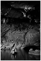 Boat and tunnel, Phong Nha Cave. Vietnam ( black and white)