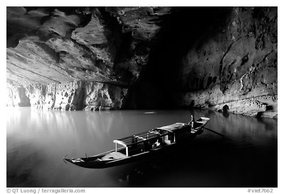 Boat inside the cave, Phong Nha Cave. Vietnam (black and white)