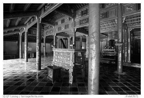 Main room of the temple inside the Minh Mang Mausoleum. Hue, Vietnam (black and white)