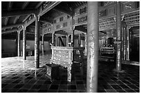 Main room of the temple inside the Minh Mang Mausoleum. Hue, Vietnam ( black and white)