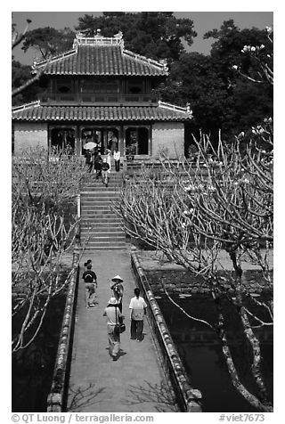 Alley and pavilion inside the Minh Mang Mausoleum. Hue, Vietnam (black and white)