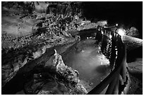 Ngoc Tuyen River flowing through Nhi Thanh Cave. Lang Son, Northest Vietnam (black and white)