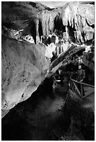 Tourist in Nhi Thanh Cave. Lang Son, Northest Vietnam (black and white)