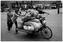 Bicyle loaded with goods at the border crossing with China at Dong Dang. Lang Son, Northest Vietnam (black and white)