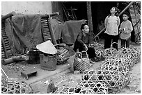Live poultry for sale, That Khe market. Northest Vietnam (black and white)