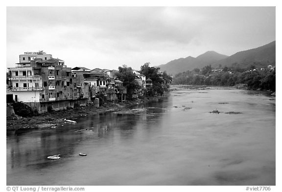 Bang Gian River in Cao Bang. Northeast Vietnam (black and white)