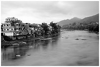 Bang Gian River in Cao Bang. Northeast Vietnam ( black and white)