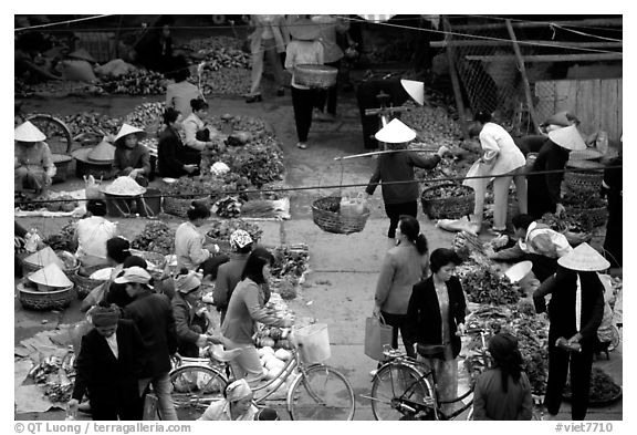 Vegetable section of the Ky Lua Market,  Cao Bang. Northeast Vietnam (black and white)