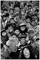 Schoolchildren dressed for the cool mountain weather. Northeast Vietnam ( black and white)