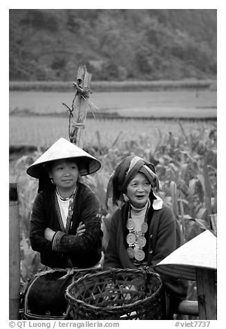 Hilltribeswomen with traditional necklace. Northeast Vietnam (black and white)