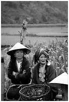 Hilltribeswomen with traditional necklace. Northeast Vietnam ( black and white)