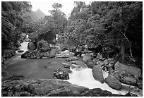 Dau Dang cascades of the Nang River. Northeast Vietnam (black and white)