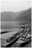 Typical dugout boats on the shore of Ba Be Lake. Northeast Vietnam ( black and white)