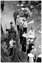 Cane sugar stand seen from above, Cho Ra Market. Northeast Vietnam ( black and white)