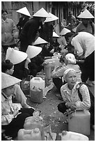 Alcohol stand, Cho Ra Market. Northeast Vietnam ( black and white)