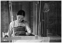 Thai woman weaving, Ban Lac. Northwest Vietnam (black and white)