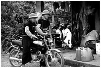 Two Hmong motorcyclists at the Xa Linh market. Northwest Vietnam ( black and white)