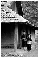 Two Hmong boys outside their house in Xa Linh village. Northwest Vietnam ( black and white)
