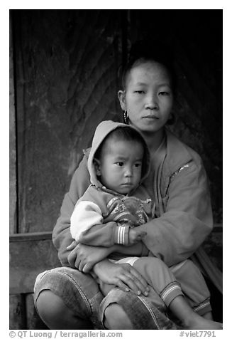 Hmong woman and boy, Xa Linh village. Northwest Vietnam (black and white)