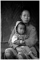 Hmong woman and boy, Xa Linh village. Northwest Vietnam ( black and white)