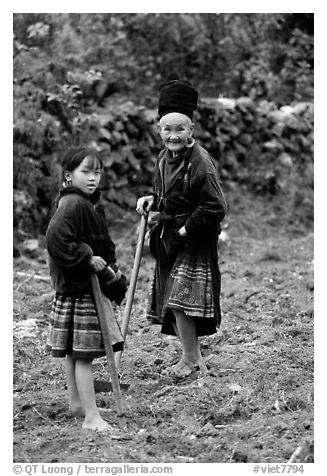 Elderly tribeswoman and girl doing field work  near Yen Chau. Northwest Vietnam (black and white)