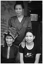 Three generations of thai women, near Son La. Northwest Vietnam ( black and white)