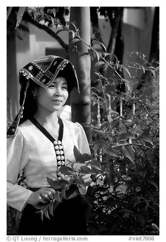 Young Thai woman in traditional dress, Son La. Vietnam (black and white)