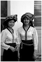 Two thai women in traditional dress, Son La. Northwest Vietnam ( black and white)