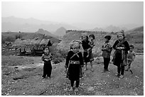 Hmong children and village, near Tam Duong. Northwest Vietnam (black and white)