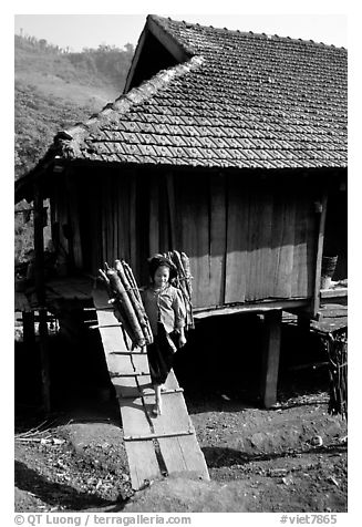 Montagnard child carries logs out of her house, between Tuan Giao and Lai Chau. Northwest Vietnam (black and white)