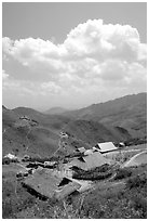 Hamlet near the pass between Son La and Lai Chau. Northwest Vietnam ( black and white)