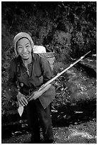 Hunter holding an old rifle, near Lai Chau. Northwest Vietnam ( black and white)