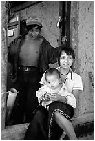 Family in a minority village, between Lai Chau and Tam Duong. Northwest Vietnam ( black and white)