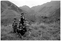 Hmong people in the Tram Ton Pass area. Northwest Vietnam (black and white)