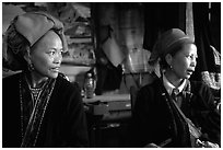 Two Red Dzao women. Sapa, Vietnam (black and white)