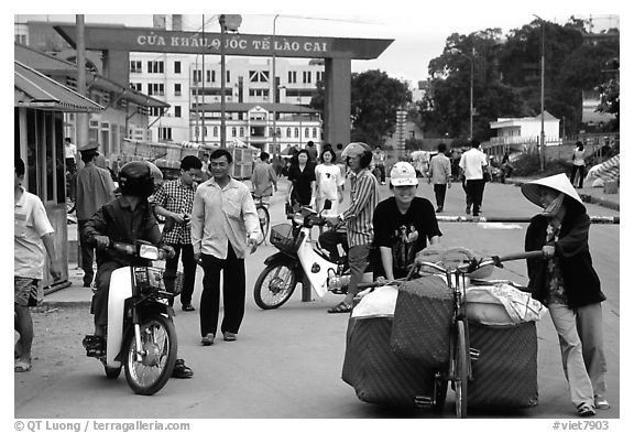 Border crossing with China at Lao Cai. Vietnam (black and white)