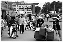 Border crossing with China at Lao Cai. Vietnam ( black and white)