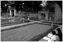 Gardens of the temple of Litterature. Hanoi, Vietnam (black and white)