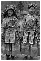 Two Flower Hmong girls. Vietnam ( black and white)